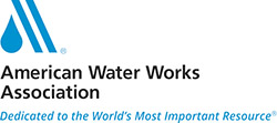 Logo for the American Water Works Association (AWWA): Dedicated to the World's Most Important Resource